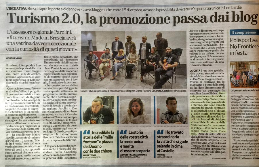 The Italian newspaper Brescia Oggi mentions our visit to the cityand what we did during Blogville Lombardy.