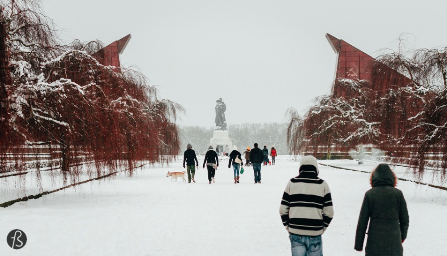 Winter at the largest Soviet Memorial in Berlin