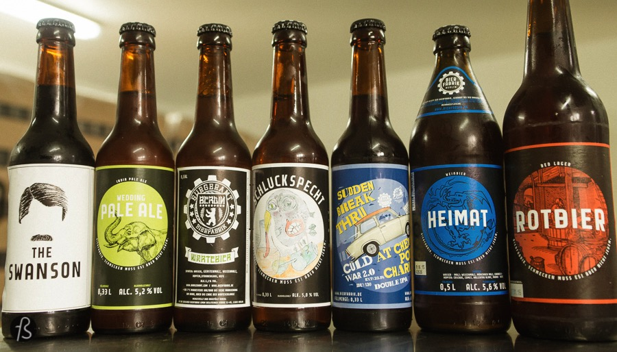 Some of the beers we tasted during our tour of the Bierfabrik