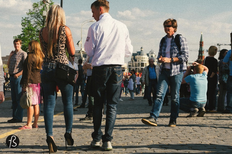 In Russia, high hills are the perfect shoes for long walks on the park