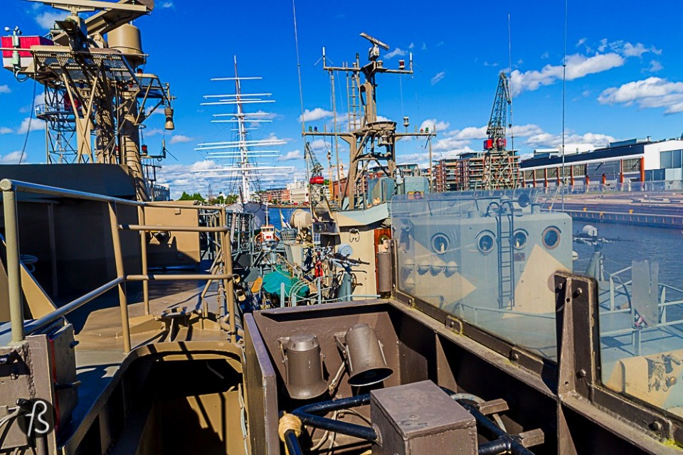 Visit the 3 ships at the Forum Marinum On Turku's harbor you can find the Forum Marinum and a few great ships just anchored in front of it. The S/S Bore that doubles as a hotel/hostel, the The Sigyn barque and The Keihässalmi minelayer are the ones you notice first because of size, but you can see smaller boats like The PMV-1391 police boat and the the Rautaville.