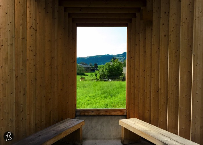 Wang Shu and Lu Wenyu of Amateur Architecture Studio designed a wooden shelter based on the idea of a camera obscura that is easily our favorite bus stop between all seven.