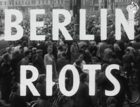If you ever wondered why Strasse des 17. Juni has its name, you have to watch this short movie from British Pathé from the Berlin Riots of 1953. This short movie is not a documentary but a newsreel report about the uprising of workers against the Communist Regime in East Germany. This is the real deal, not an interpretation of what happened.