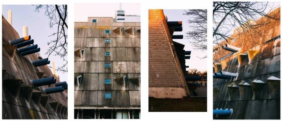 The Central Animal Laboratory of the Freie Universität is one of the best examples of Brutalist architecture in Berlin, and we visited the building at the end of December 2016 to see this strange looking building in the middle of Lichterfelde. It took us a while to find it, but once you see it, there is no way of ignoring it based on its monstrous appearance and the contrast with the area surrounding it.