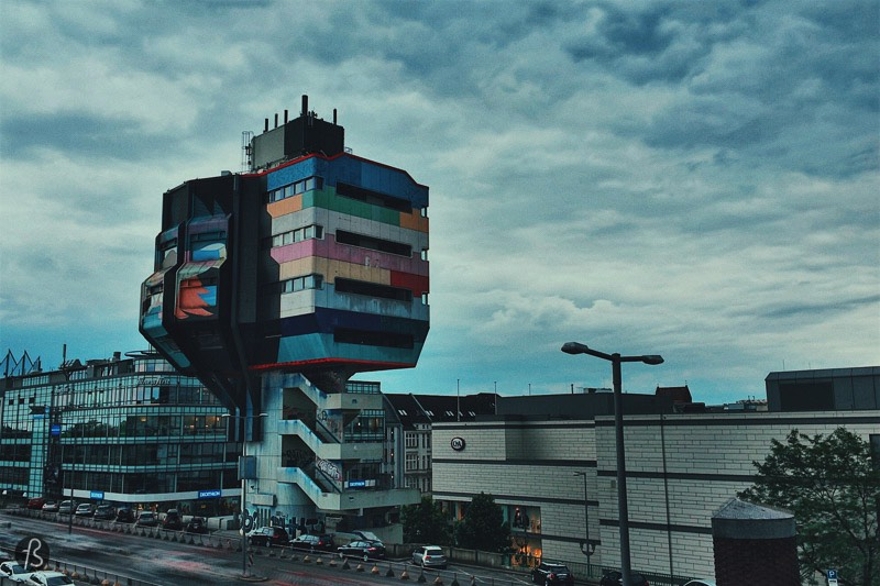 Bierpinsel is the work of Ralph Schüler und Ursulina Schüler-Witte an architect couple who also designed the brutalist ICC Conference Center in Berlin-Westend. The original concept that came from the couple was that of a tree shape, but I don't think this idea is there today. It looks more like a crazy Lego creation than anything else. Either way, it took four years to build it, between 1972 and 1976 and, according to the legend, it got its nickname due to the amount of free beer that was served on the opening day.