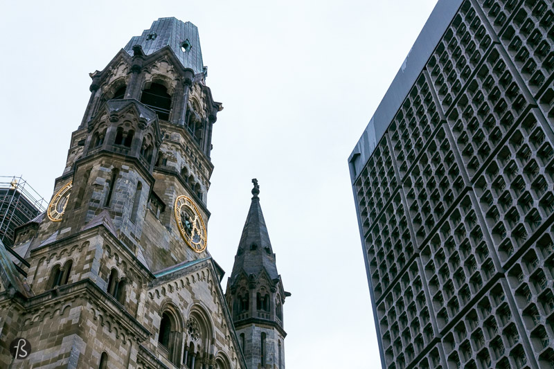 After a walk around the embassy district of Berlin, you will be back to the start of your morning walk just in time to visit the ruins of the Kaiser Wilhelm Memorial Church. This is Berlin's most famous ruin of the Second World War and a classical sight of Berlin City West since it was built in 1895. First built by Kaiser Wilhelm II to honor his grandfather, Kaiser Wilhelm I, this church was destroyed by British bombing raids almost at the end of the Second World War, and now it's a landmark and a memorial against the destruction of war.