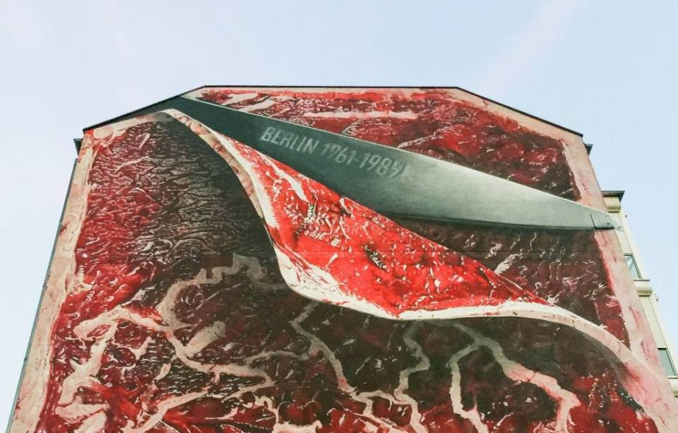 If Walls Could Talk… — A Meat Mural by Marcus Haas where the Berlin Wall used to be