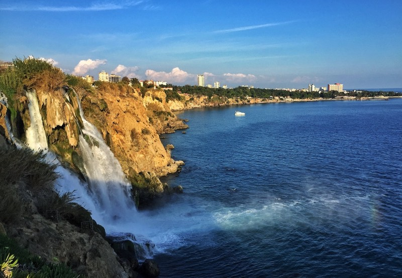 Turkey has several waterfalls easily accessible by transport, but the Lower Duden Waterfall is by far the most impressive to watch. The coastline along Antalya is made up of both beaches and cliffs, but it's not often you get to see a powerful waterfall going straight into the ocean.