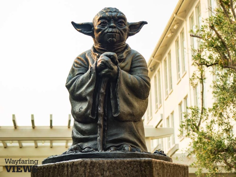 George Lucas' creative genius was spawned in the San Francisco Bay area. If you are one of the 500 zillion fans of Star Wars, you can be at one with the force by visiting the Yoda statue in San Francisco's Presidio. Yoda presides over the parking lot of the LucasArts office building with his usual sharp eye, ever ready with a wise word.
