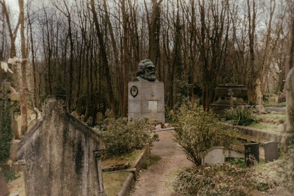 The Tomb of Karl Marx at the Highgate Cemetery in North London
