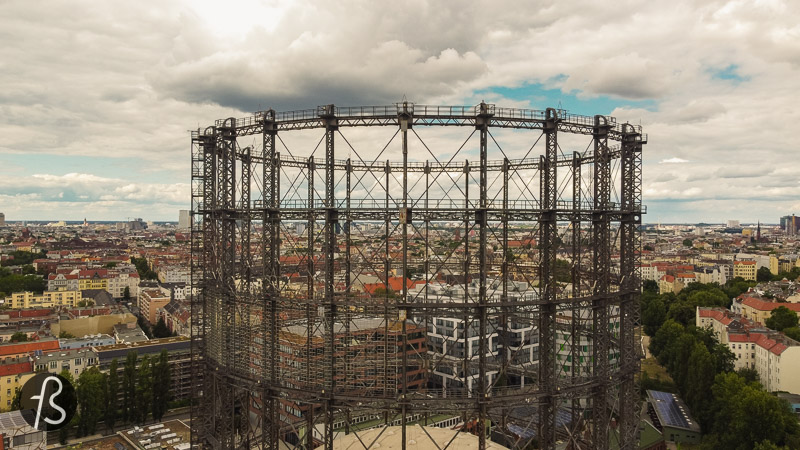 Whenever we travel around Europe, we see the skeleton of abandoned gasworks. But the Schöneberg Gasometer has this uniqueness to it since it feels like it's still integrated into the landscape of the city. You pass by it around Haupstrasse or taking the S-Bahn, and it's always there, in the corner of your eye.