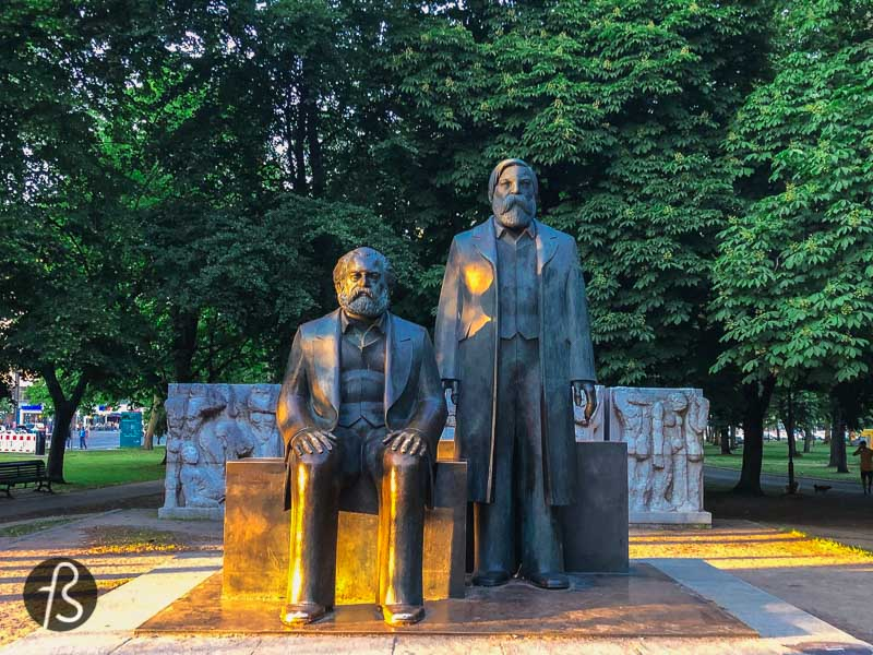 The park's primary focus is Engels and Marx's statues, surrounded by a relief showing some scenes of the history of communism in Germany. Today, the figures are somewhat hidden among the trees next to the Spree, and this happened due to some construction work on the U5 U-Bahn line, and the monument was moved to where it stands now. Hopefully, it will be placed in its original place in the future.