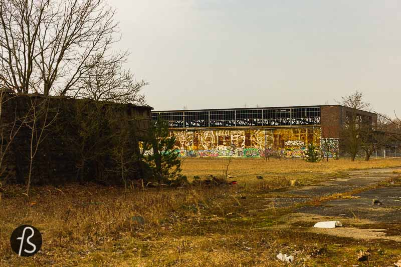 Nowadays, there isn't much to see there besides some buildings around a hangar. Most of the area where the airfield used to be was taken over by constructing a federal highway back in 2003. A few years later, the supermarket REWE built a distribution centre in the area.