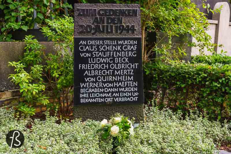 After the executions, General Friedrich Fromm ordered that the executed officers be buried with military honours. The immediate burial took place in the Alter St.-Matthäus-Kirchhof in Schöneberg, here in Berlin. But, by the next day, Fromm was arrested, and Claus von Stauffenberg's body was exhumed by the SS, stripped of his insignia and medals and cremated, never to be found again.