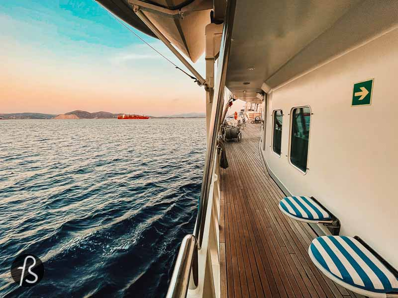 If you are looking for a cruise experience throughout the Greek islands, Running on Waves is the ship for you. This luxurious ship is surprisingly intimate, and there is no better way to experience the blue waters.